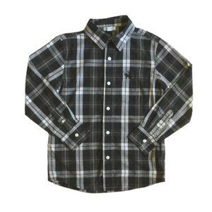 Old Navy Boys Black Plaid Long Sleeve Button Up Shirt Size M